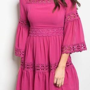 Gorgeous BOHO magenta dress with pretty lace detai